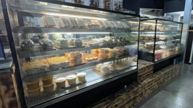 food in display cabinet